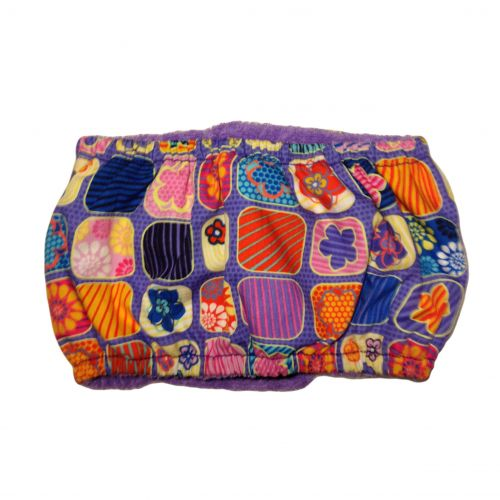 flower window on purple belly band – back