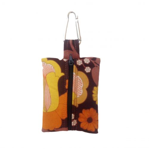 brown and yellow flowers  poop bag holder – empty back