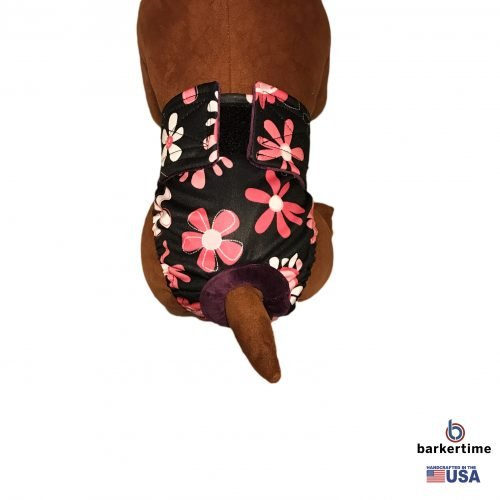 pink floral on black pul diaper - model 2