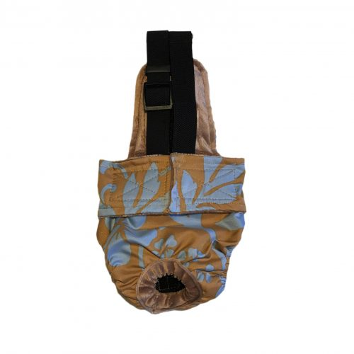 blue hawaiian hibiscus flower on brown diaper overall
