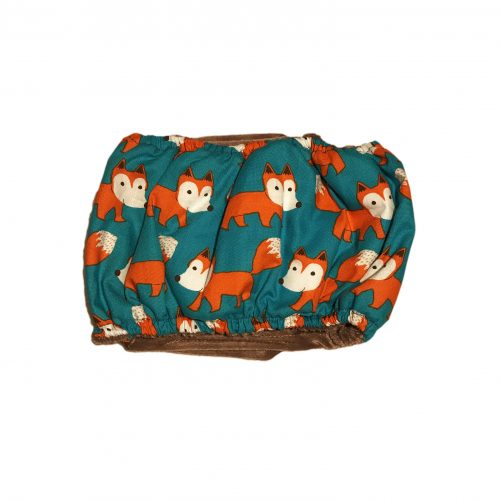 orange fox on teal belly band - back
