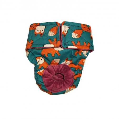 orange fox on teal diaper