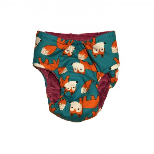 orange fox on teal diaper – back