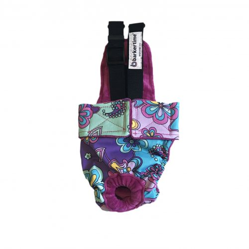 mystic flower on purple diaper overall
