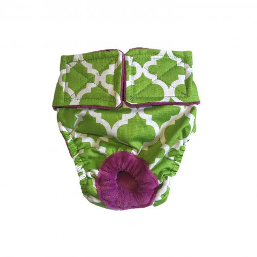 white quatrefoil on green diaper