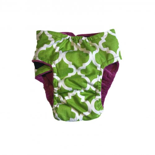 white quatrefoil on green diaper – back