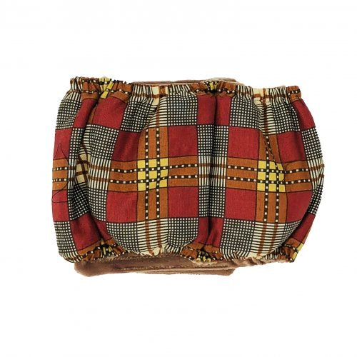 brown and red plaid belly band - back