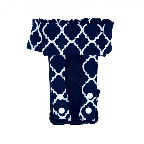 white quatrefoil on blue diaper pull-up