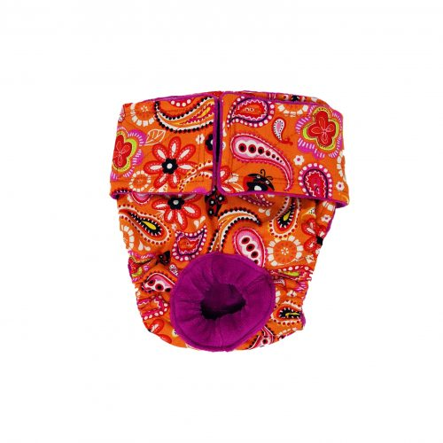 paisley flower on orange diaper