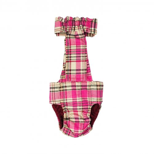 pink plaid diaper overall - new - back
