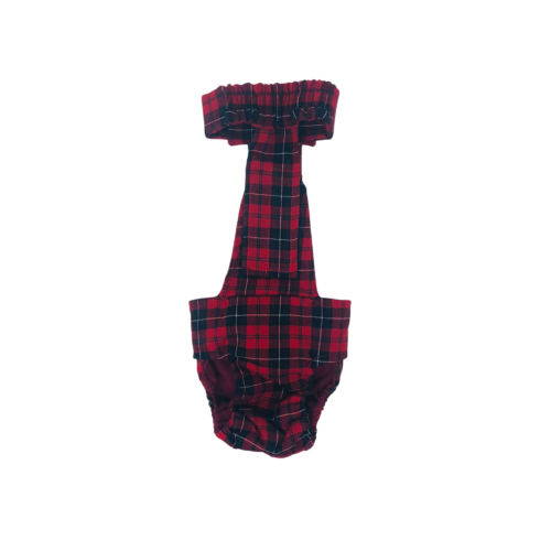 red plaid diaper overall - back