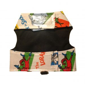 Dog Harness made from Dr Seuss fabric