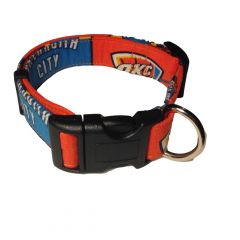 Dog Collar made from Oklahoma City Thunders fabric