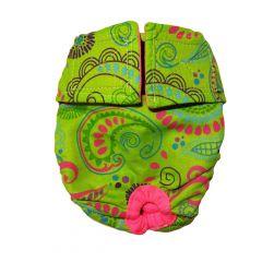 Lime Paisley Washable Dog Diaper