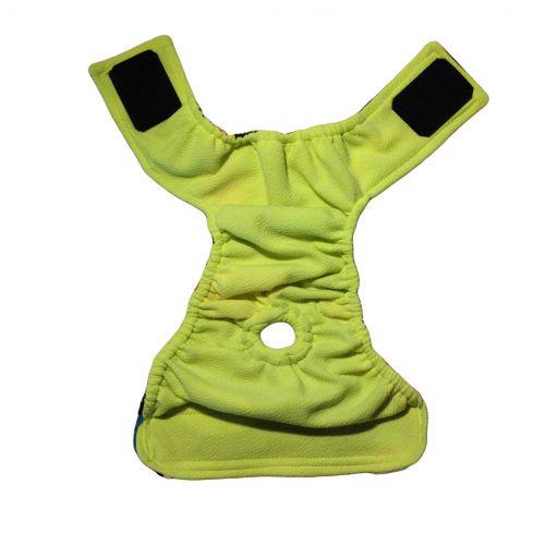 color neon polka dot diaper - full back