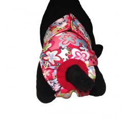 Colorful Spring Flower on Pink Washable Cat Diaper