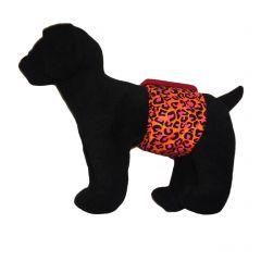 Orange Hot Pink Leopard Washable Dog Belly Band Male Wrap