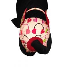Headphone on Pink Washable Cat Diaper