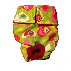 Sweet Heart on Green Washable Cat Diaper