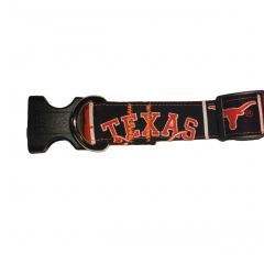 Dog Collar made from University of Texas Fabric