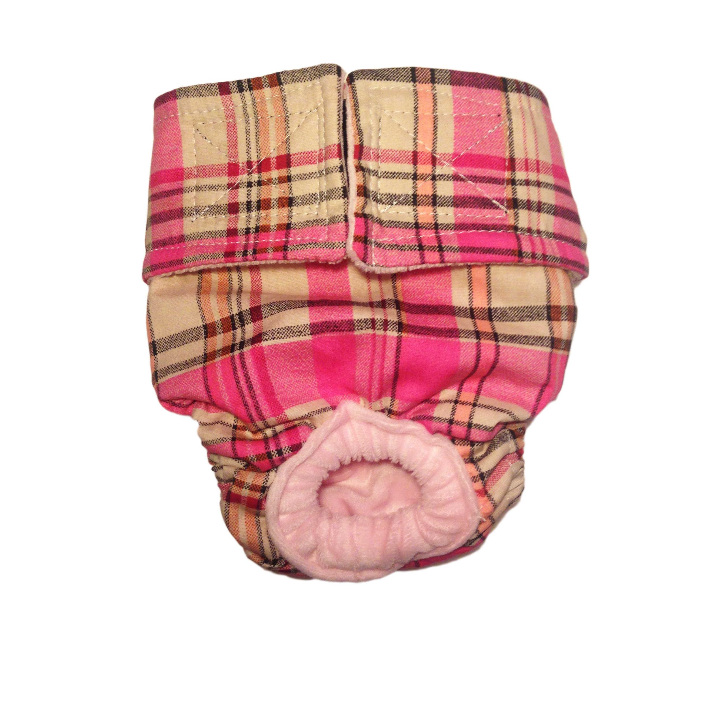 Barkertime Pink Plaid Washable Dog Diaper