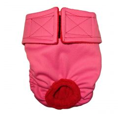 Solid Pink Premium Fully Waterproof PUL Washable Dog Diaper