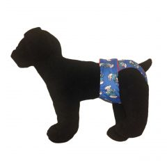 Washable Dog Diaper made from Smurf fabric