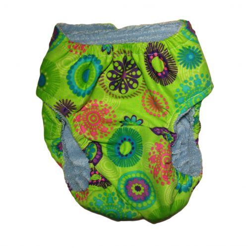 green kiwi flower diaper - back