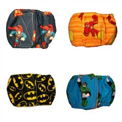 Washable Dog Belly Bands Male Wraps – Justice League 4 pc Combo Pack