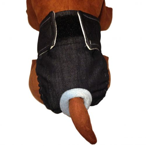 Barkertime Denim Washable Dog Diaper For Male And Female Dogs
