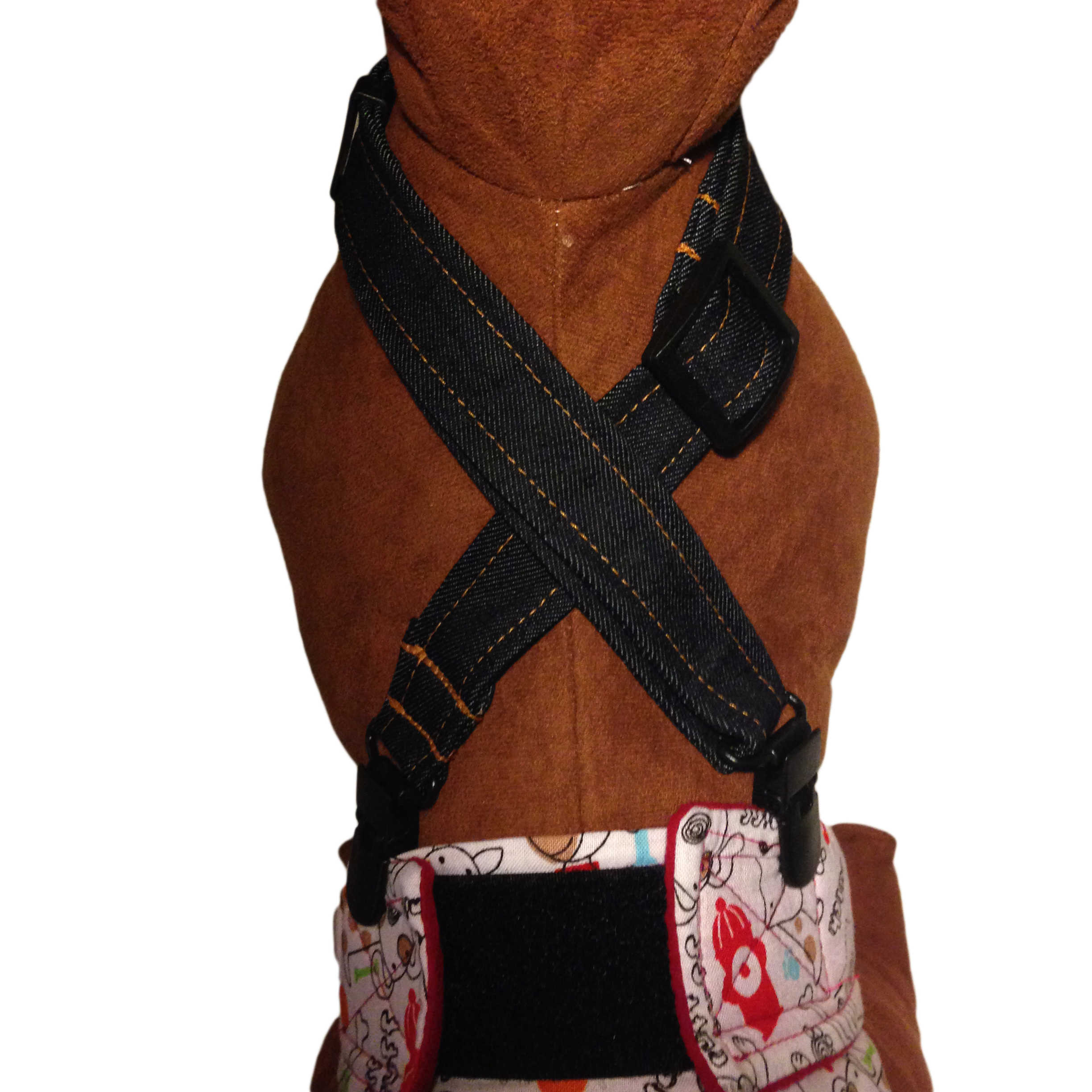 Barkertime Denim Adjustable Suspender To Keep Dog Diapers On
