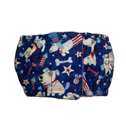 patriotic doggie with glitter belly band