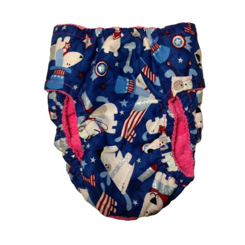 patriotic doggie with glitter diaper - back