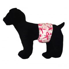 Pink Ribbon Washable Dog Belly Band Male Wrap