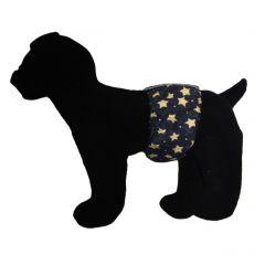White Stars on Navy Blue Washable Dog Belly Band Male Wrap