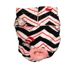 Washable Cat Diaper made from Dr Seuss Chevron fabric