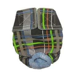 Gray Plaid Neon Stripes Washable Cat Diaper
