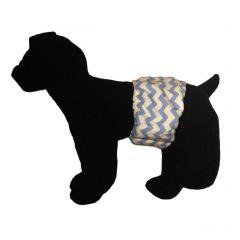 Light Blue Chevron on White Washable Dog Belly Band Male Wrap