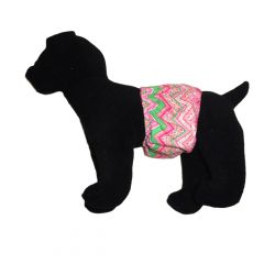 Pink Flower Chevron Washable Dog Belly Band Male Wrap