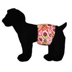 Pink Paisley on Orange Washable Dog Belly Band Male Wrap