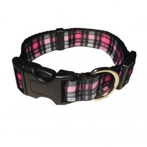 Pink London Plaid Dog Collar