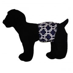 White Square Chains on Navy Blue Washable Dog Belly Band Male Wrap