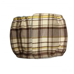 Brown Plaid Washable Dog Belly Band Male Wrap