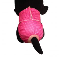 White Polka Dot on Pink Premium Fully Waterproof PUL Washable Cat Diaper / Cover-up