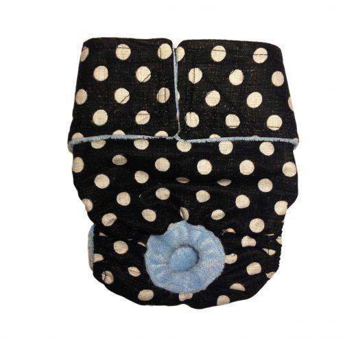 white polka dot on vintage black diaper