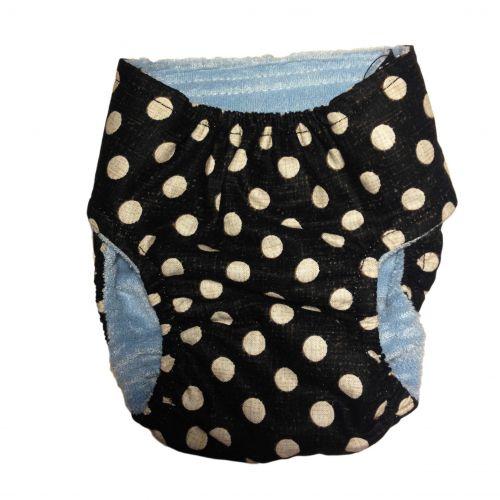 white polka dot on vintage black diaper - back
