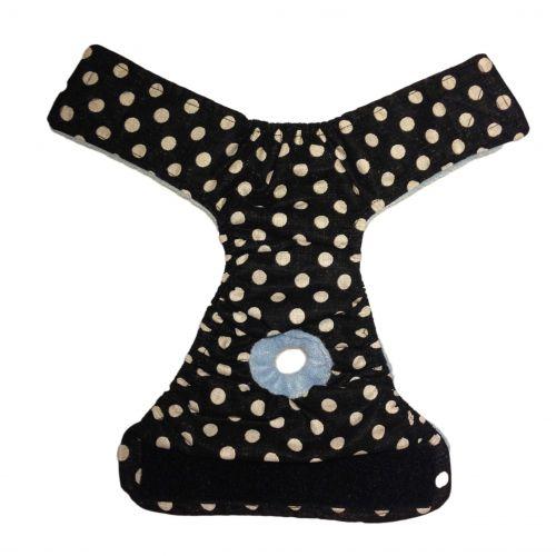 white polka dot on vintage black diaper - full