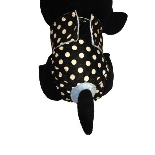 white polka dot on vintage black diaper - model 2
