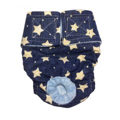 White Stars on Navy Blue Washable Cat Diaper