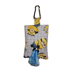 Dog Poop Bag Dispenser made from Despicable Me Minion on White fabric